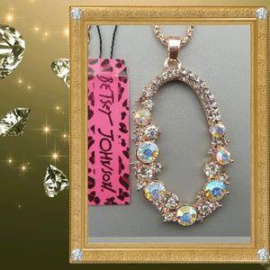 Betsey Johnson Oval Drop Necklace